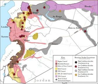 Карта авиаударов российской военной авиации в Сирии. Январь 2016